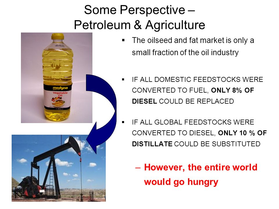 Some Perspective – Petroleum & Agriculture The oilseed and fat market is only a small fraction of the oil industry IF ALL DOMESTIC FEEDSTOCKS WERE CON