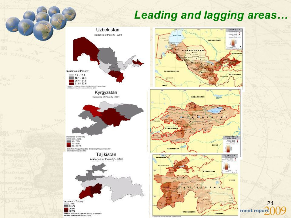 WDR Conference in Central Asia, February 26-27 2009 24 Leading and lagging areas…
