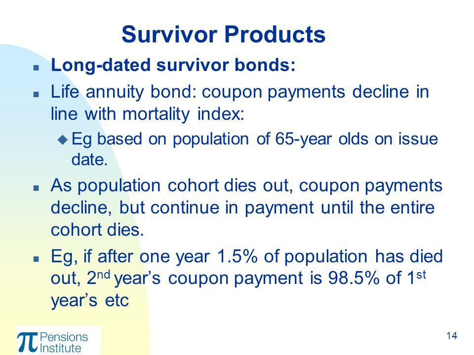 14 n Long-dated survivor bonds: n Life annuity bond: coupon payments decline in line with mortality index: u Eg based on population of 65-year olds on issue date.