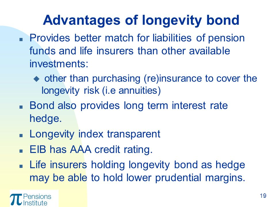 19 n Provides better match for liabilities of pension funds and life insurers than other available investments: u other than purchasing (re)insurance to cover the longevity risk (i.e annuities) n Bond also provides long term interest rate hedge.