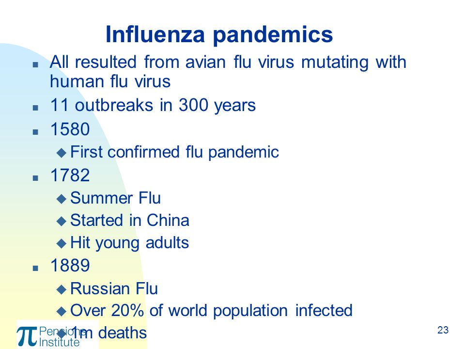 23 n All resulted from avian flu virus mutating with human flu virus n 11 outbreaks in 300 years n 1580 u First confirmed flu pandemic n 1782 u Summer Flu u Started in China u Hit young adults n 1889 u Russian Flu u Over 20% of world population infected u 1m deaths Influenza pandemics