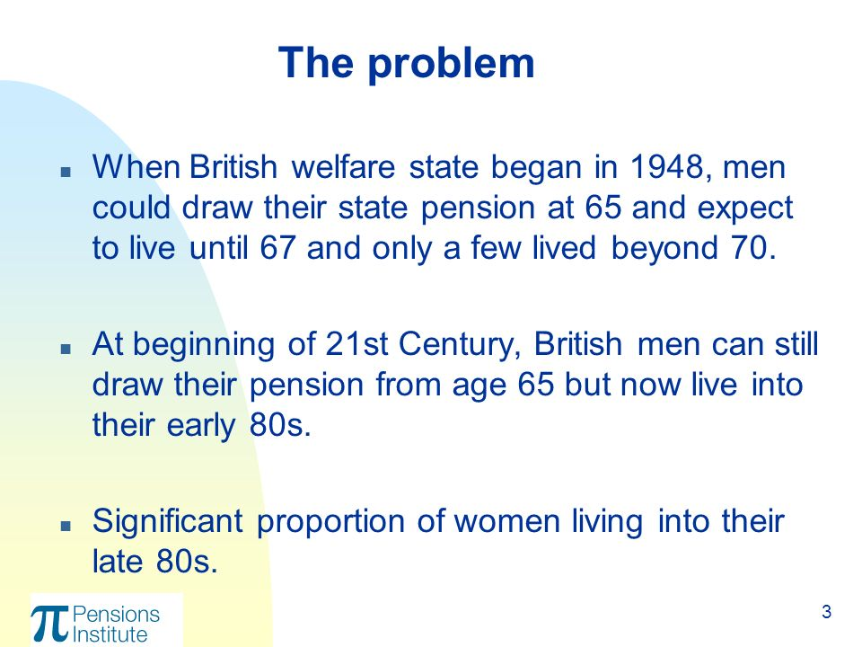 3 n When British welfare state began in 1948, men could draw their state pension at 65 and expect to live until 67 and only a few lived beyond 70.