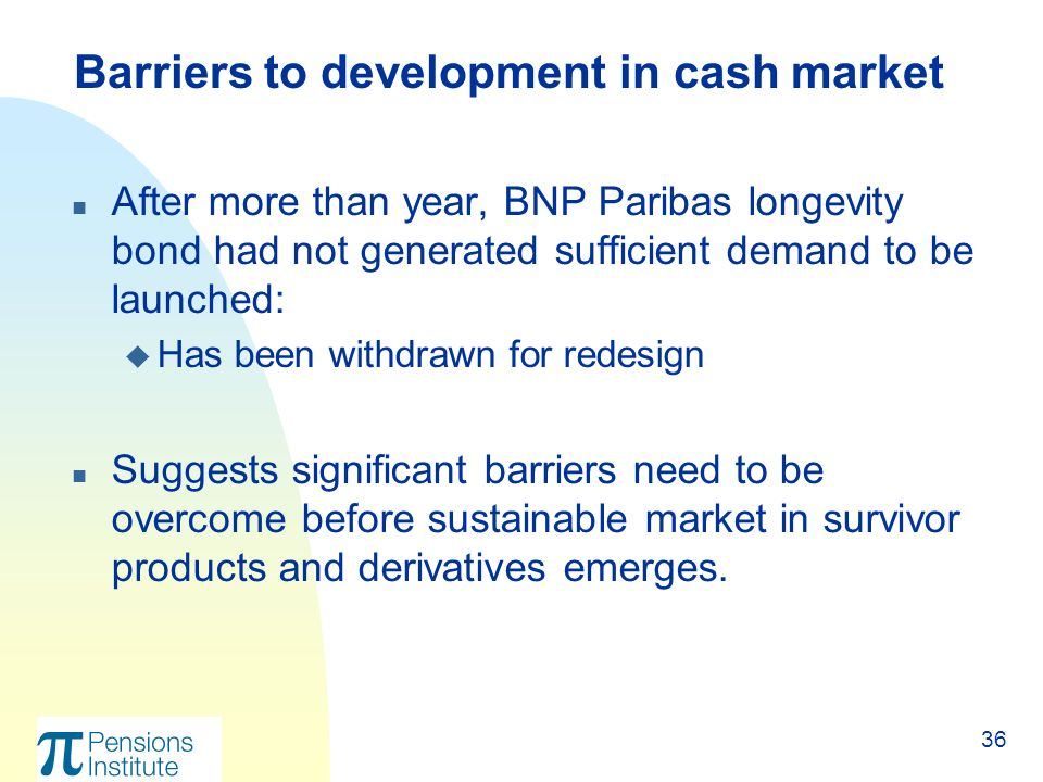 36 n After more than year, BNP Paribas longevity bond had not generated sufficient demand to be launched: u Has been withdrawn for redesign n Suggests significant barriers need to be overcome before sustainable market in survivor products and derivatives emerges.