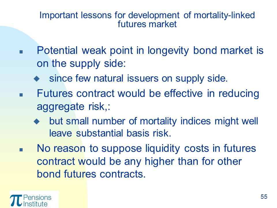 55 n Potential weak point in longevity bond market is on the supply side: u since few natural issuers on supply side.