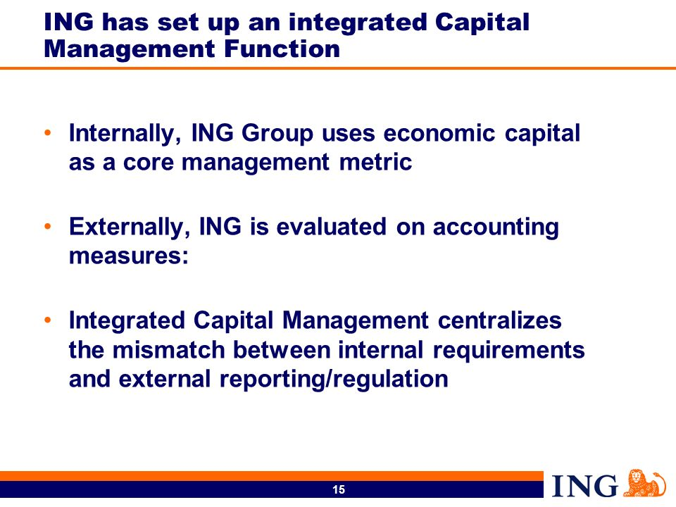 15 ING has set up an integrated Capital Management Function Internally, ING Group uses economic capital as a core management metric Externally, ING is