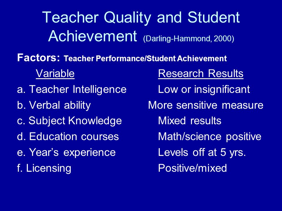 Teacher Quality and Student Achievement (Darling-Hammond, 2000) Factors: Teacher Performance/Student Achievement VariableResearch Results a. Teacher I