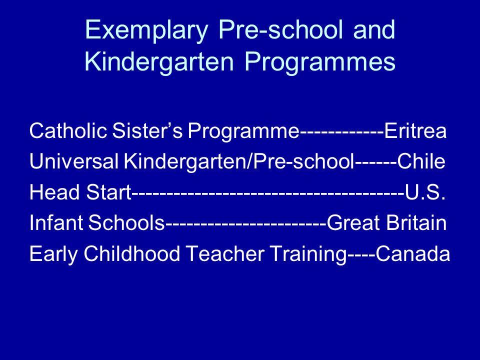 Exemplary Pre-school and Kindergarten Programmes Catholic Sisters Programme------------Eritrea Universal Kindergarten/Pre-school------Chile Head Start