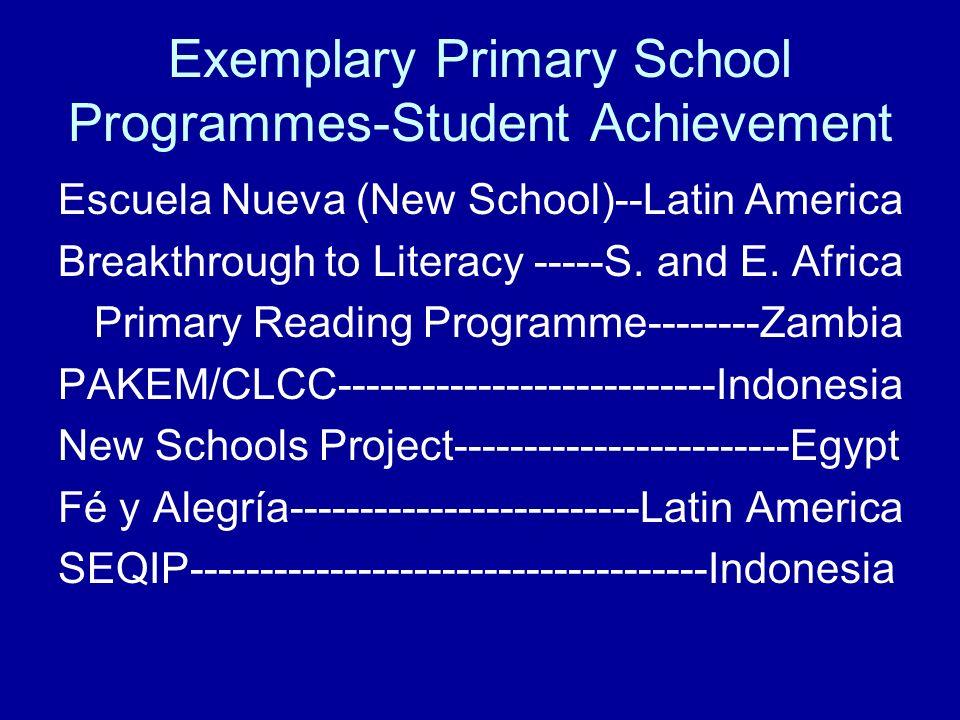 Exemplary Primary School Programmes-Student Achievement Escuela Nueva (New School)--Latin America Breakthrough to Literacy -----S. and E. Africa Prima