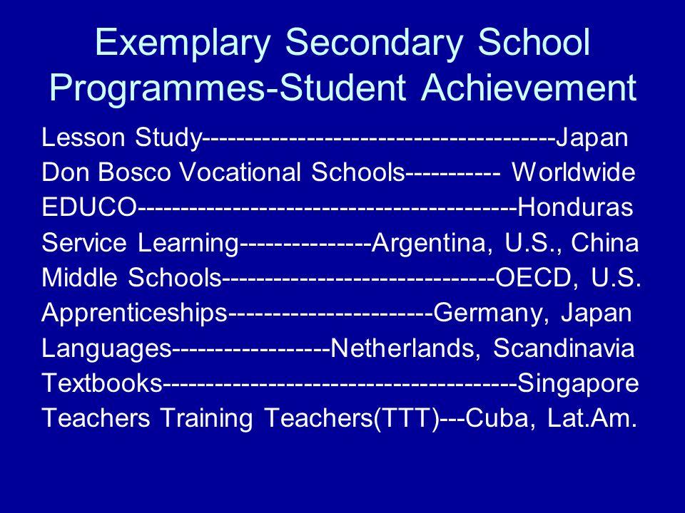 Exemplary Secondary School Programmes-Student Achievement Lesson Study----------------------------------------Japan Don Bosco Vocational Schools------