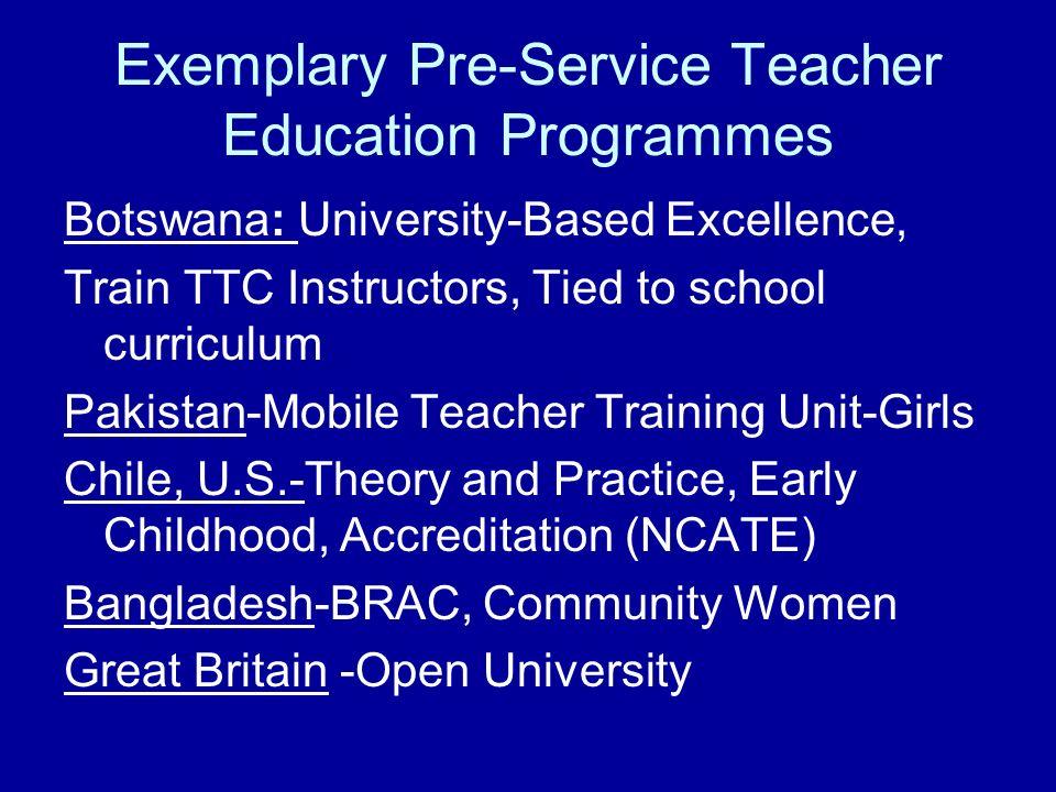 Exemplary Pre-Service Teacher Education Programmes Botswana: University-Based Excellence, Train TTC Instructors, Tied to school curriculum Pakistan-Mo