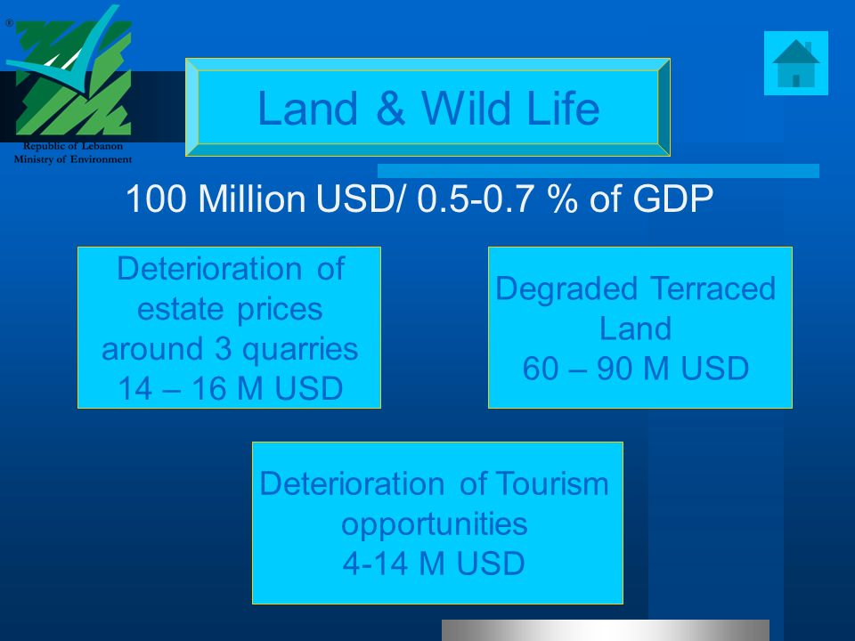 Land & Wild Life Degraded Terraced Land 60 – 90 M USD 100 Million USD/ 0.5-0.7 % of GDP Deterioration of estate prices around 3 quarries 14 – 16 M USD Deterioration of Tourism opportunities 4-14 M USD