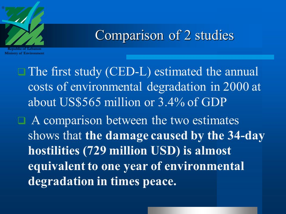 Comparison of 2 studies The first study (CED-L) estimated the annual costs of environmental degradation in 2000 at about US$565 million or 3.4% of GDP A comparison between the two estimates shows that the damage caused by the 34-day hostilities (729 million USD) is almost equivalent to one year of environmental degradation in times peace.