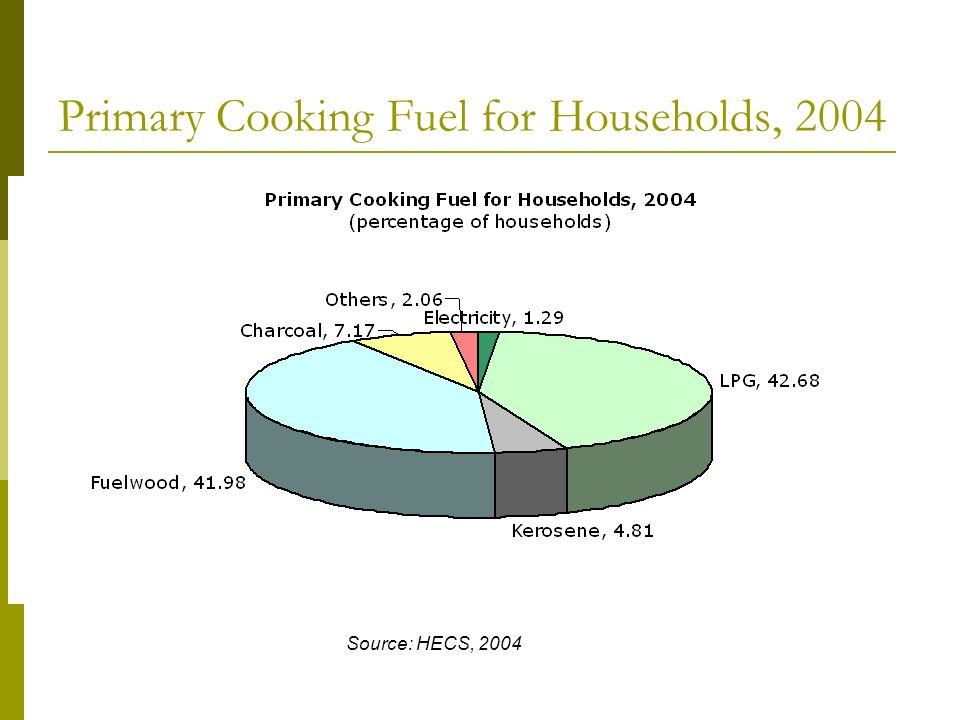 Primary Cooking Fuel for Households, 2004 Source: HECS, 2004