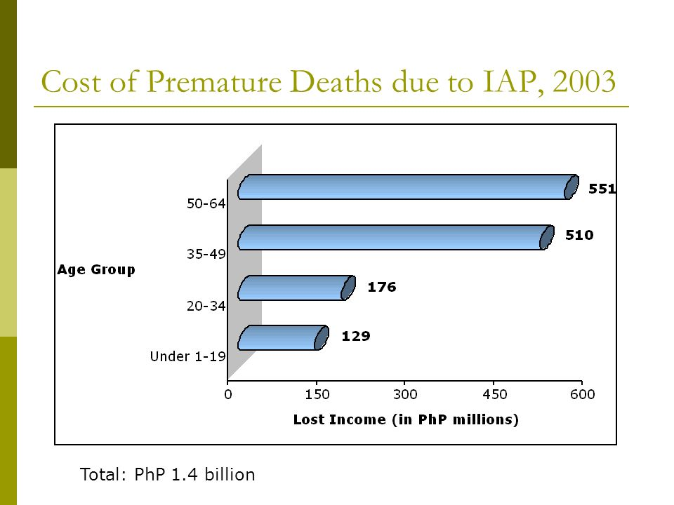 Cost of Premature Deaths due to IAP, 2003 Total: PhP 1.4 billion