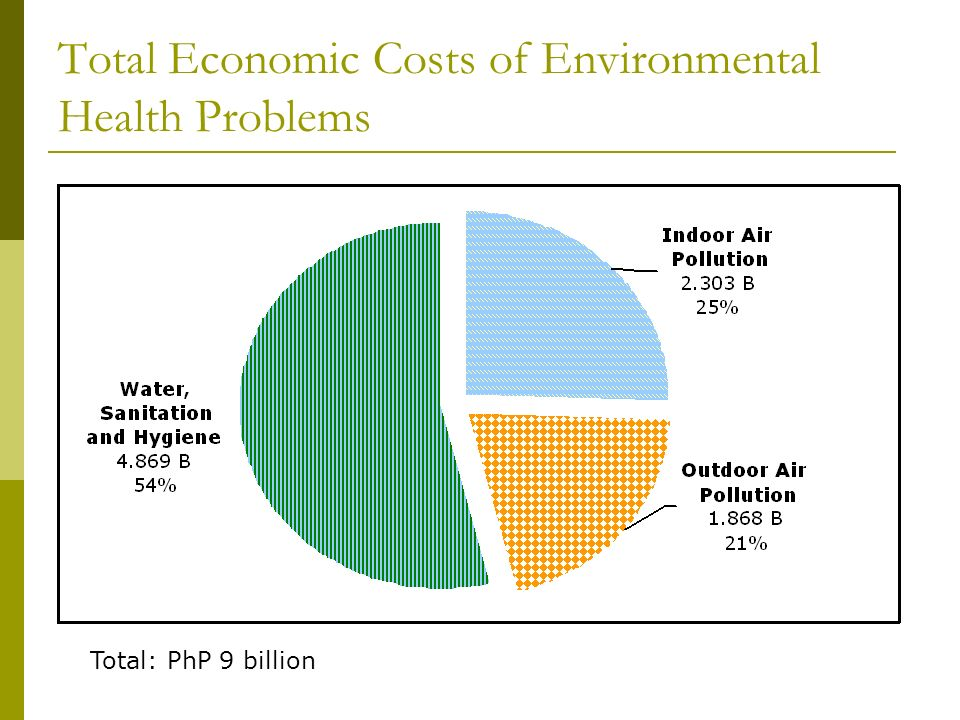 Total Economic Costs of Environmental Health Problems Total: PhP 9 billion