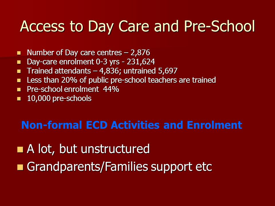 Access to Day Care and Pre-School Number of Day care centres – 2,876 Number of Day care centres – 2,876 Day-care enrolment 0-3 yrs - 231,624 Day-care enrolment 0-3 yrs - 231,624 Trained attendants – 4,836; untrained 5,697 Trained attendants – 4,836; untrained 5,697 Less than 20% of public pre-school teachers are trained Less than 20% of public pre-school teachers are trained Pre-school enrolment 44% Pre-school enrolment 44% 10,000 pre-schools 10,000 pre-schools A lot, but unstructured A lot, but unstructured Grandparents/Families support etc Grandparents/Families support etc Non-formal ECD Activities and Enrolment