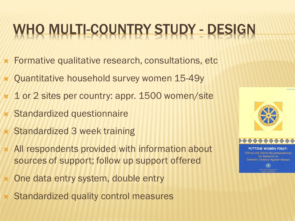Formative qualitative research, consultations, etc Quantitative household survey women 15-49y 1 or 2 sites per country: appr.