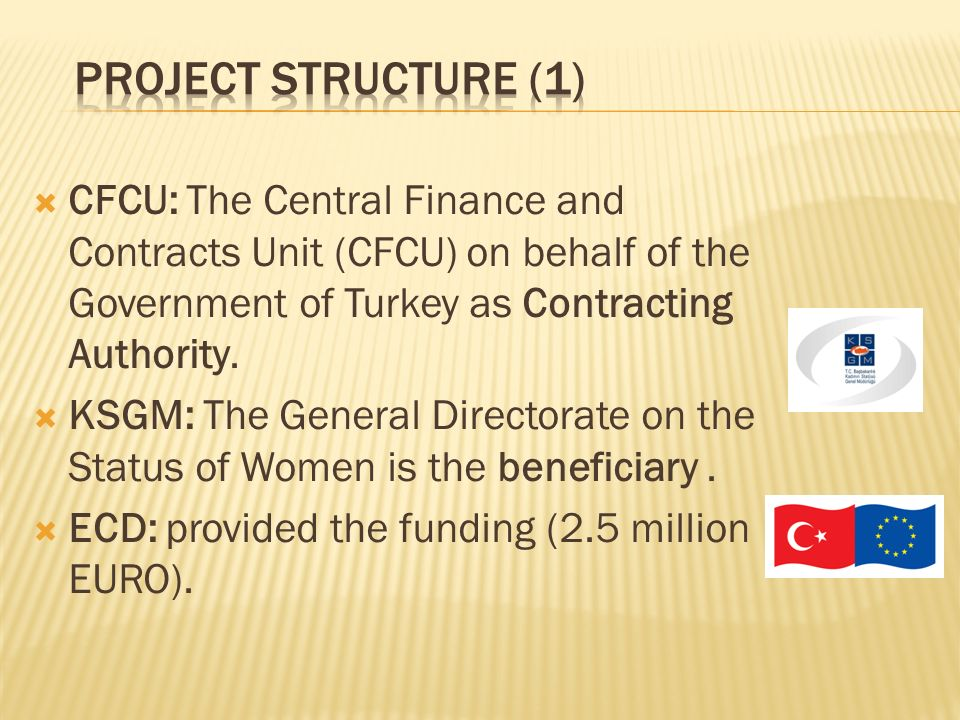 CFCU: The Central Finance and Contracts Unit (CFCU) on behalf of the Government of Turkey as Contracting Authority.