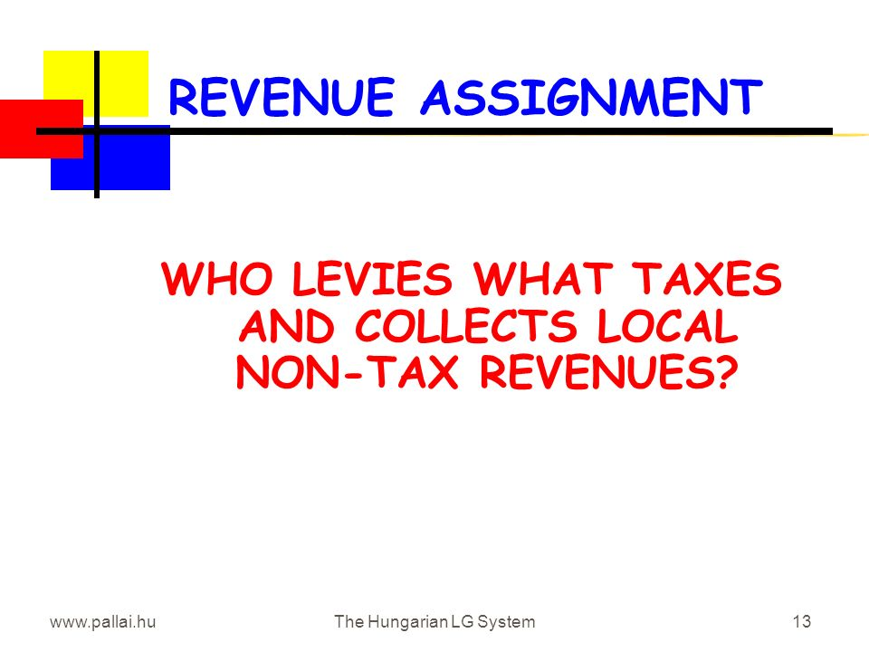 www.pallai.huThe Hungarian LG System13 REVENUE ASSIGNMENT WHO LEVIES WHAT TAXES AND COLLECTS LOCAL NON-TAX REVENUES?