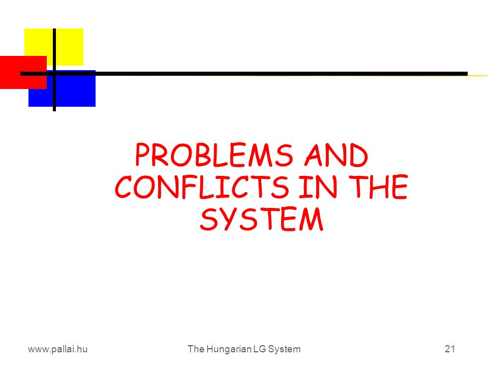 www.pallai.huThe Hungarian LG System21 PROBLEMS AND CONFLICTS IN THE SYSTEM