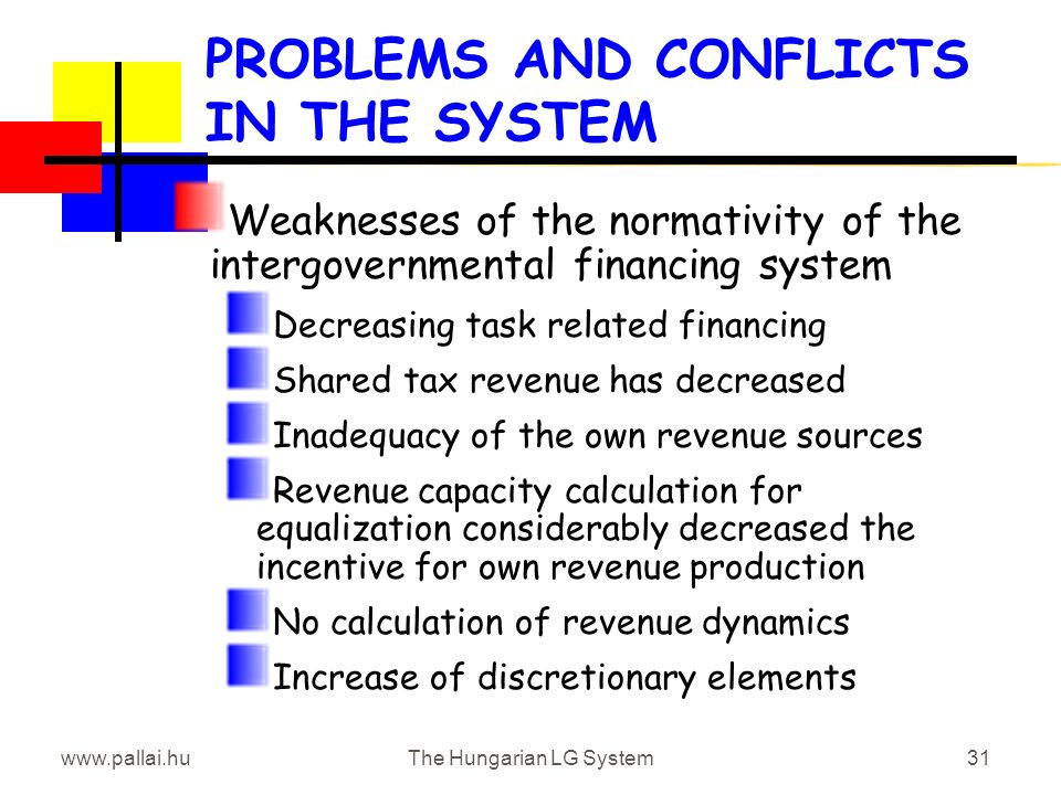 www.pallai.huThe Hungarian LG System31 PROBLEMS AND CONFLICTS IN THE SYSTEM Weaknesses of the normativity of the intergovernmental financing system Decreasing task related financing Shared tax revenue has decreased Inadequacy of the own revenue sources Revenue capacity calculation for equalization considerably decreased the incentive for own revenue production No calculation of revenue dynamics Increase of discretionary elements