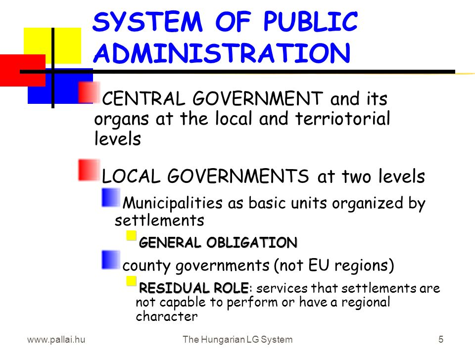 www.pallai.huThe Hungarian LG System5 SYSTEM OF PUBLIC ADMINISTRATION CENTRAL GOVERNMENT and its organs at the local and terriotorial levels LOCAL GOVERNMENTS at two levels Municipalities as basic units organized by settlements GENERAL OBLIGATION GENERAL OBLIGATION county governments (not EU regions) RESIDUAL ROLE RESIDUAL ROLE: services that settlements are not capable to perform or have a regional character