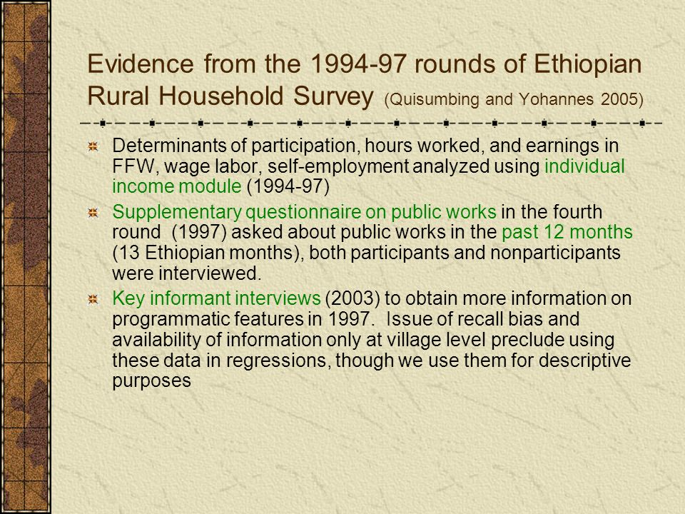 Evidence from the 1994-97 rounds of Ethiopian Rural Household Survey (Quisumbing and Yohannes 2005) Determinants of participation, hours worked, and e