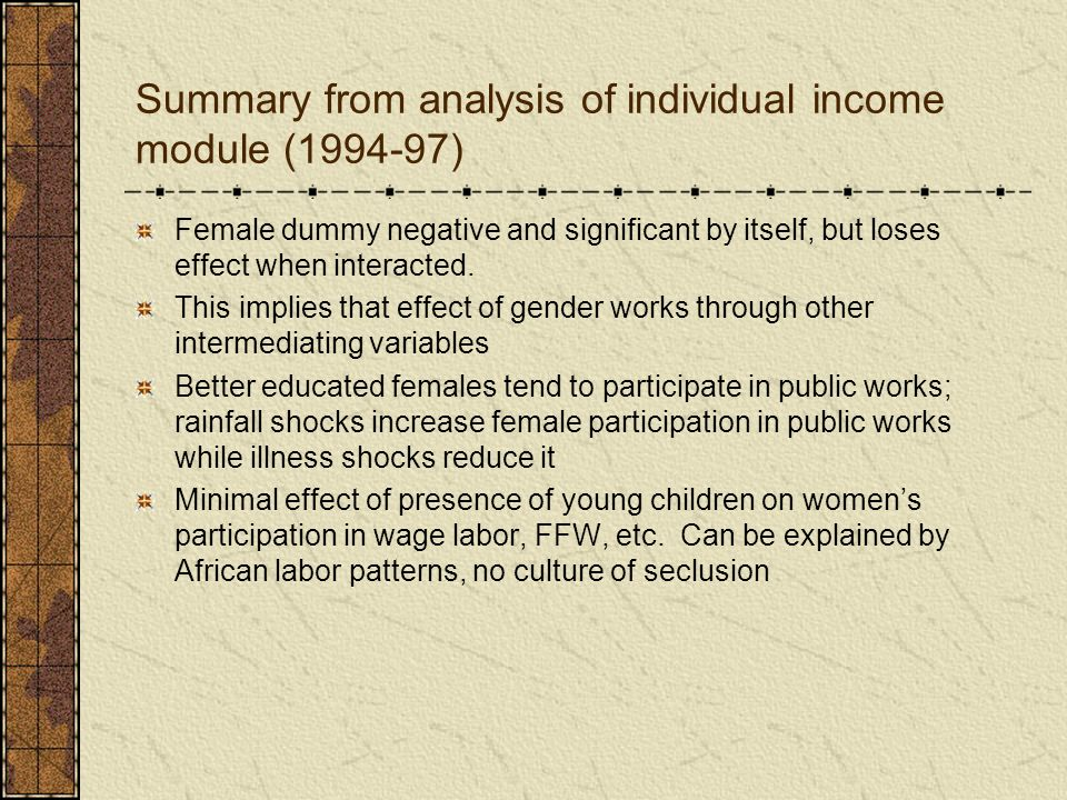 Summary from analysis of individual income module (1994-97) Female dummy negative and significant by itself, but loses effect when interacted. This im