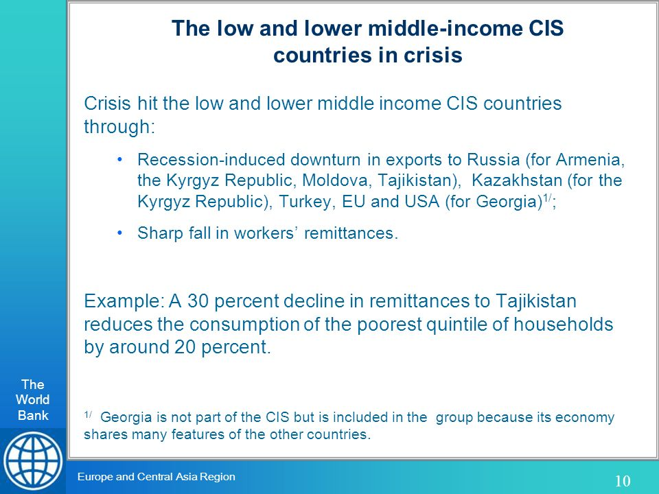The World Bank 10 Europe and Central Asia Region Crisis hit the low and lower middle income CIS countries through: Recession-induced downturn in exports to Russia (for Armenia, the Kyrgyz Republic, Moldova, Tajikistan), Kazakhstan (for the Kyrgyz Republic), Turkey, EU and USA (for Georgia) 1/ ; Sharp fall in workers remittances.