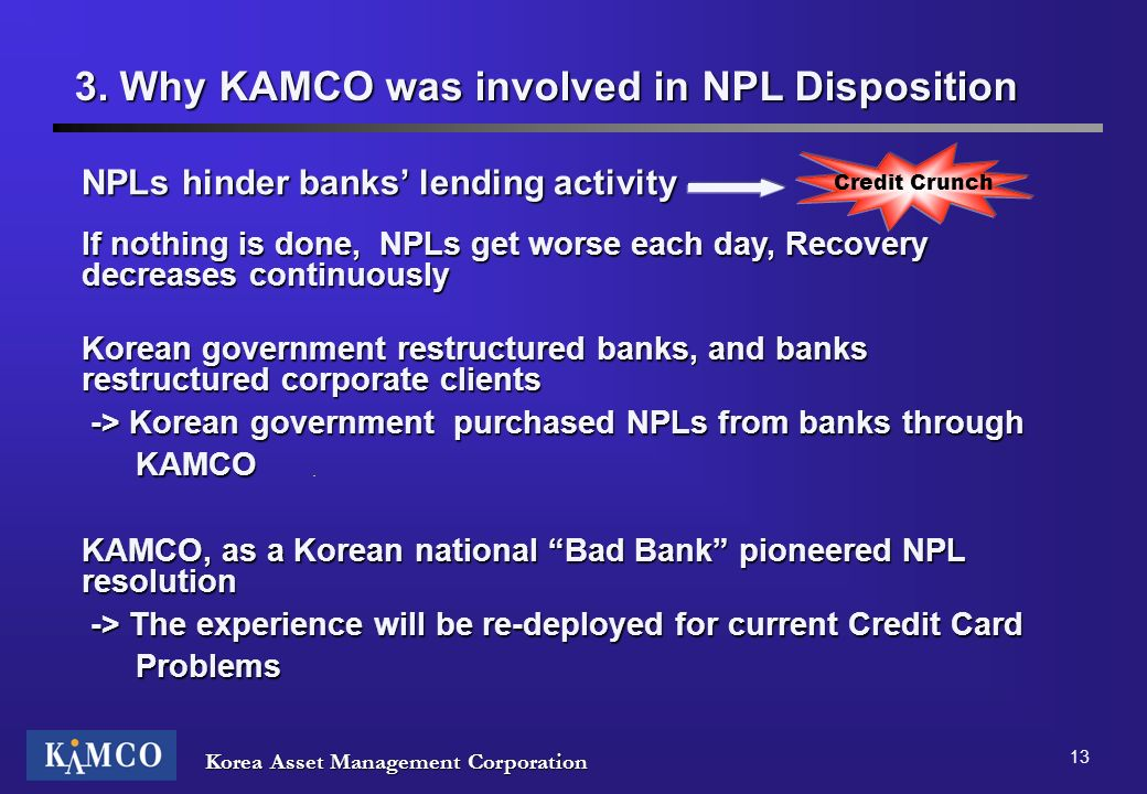 Korea Asset Management Corporation 13 3. Why KAMCO was involved in NPL Disposition NPLs hinder banks lending activity If nothing is done, NPLs get wor