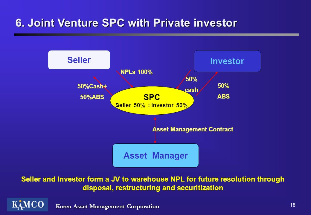 Korea Asset Management Corporation 18 6. Joint Venture SPC with Private investor Seller Investor SPC Seller 50% : Investor 50% Asset Manager NPLs 100%
