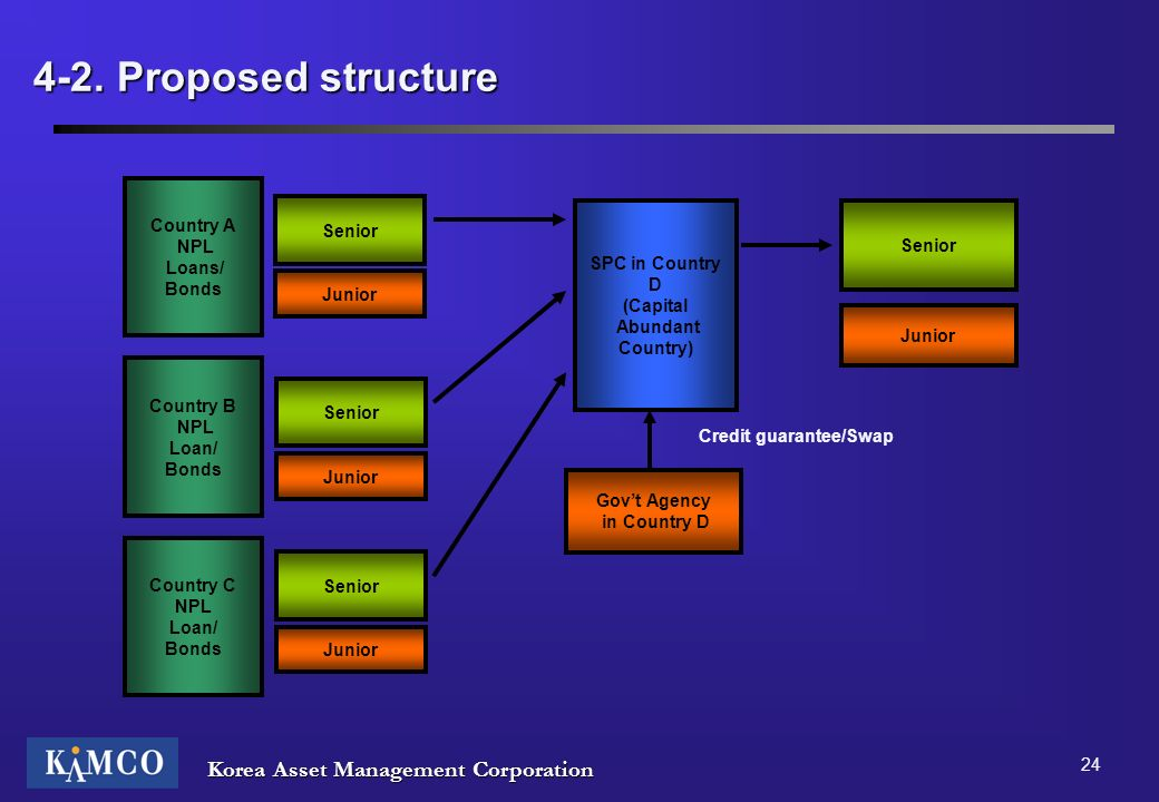 Korea Asset Management Corporation 24 4-2. Proposed structure Country A NPL Loans/ Bonds SPC in Country D (Capital Abundant Country) Senior Junior Sen