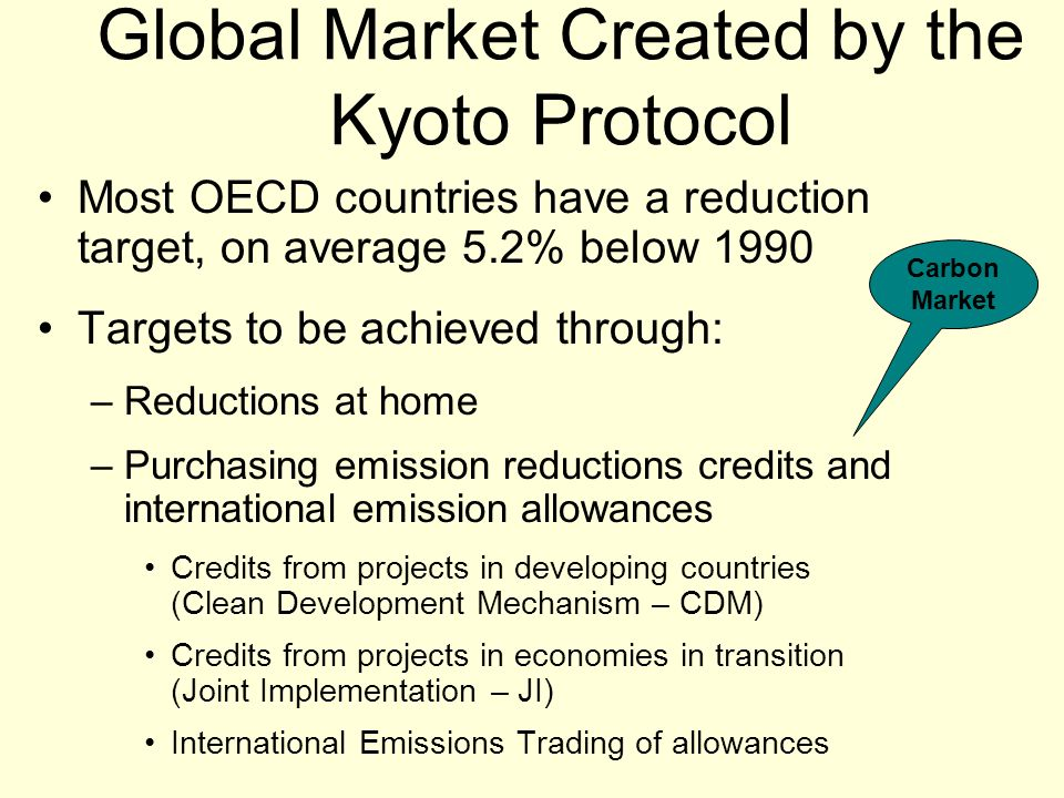 Global Market Created by the Kyoto Protocol Most OECD countries have a reduction target, on average 5.2% below 1990 Targets to be achieved through: –Reductions at home –Purchasing emission reductions credits and international emission allowances Credits from projects in developing countries (Clean Development Mechanism – CDM) Credits from projects in economies in transition (Joint Implementation – JI) International Emissions Trading of allowances Carbon Market