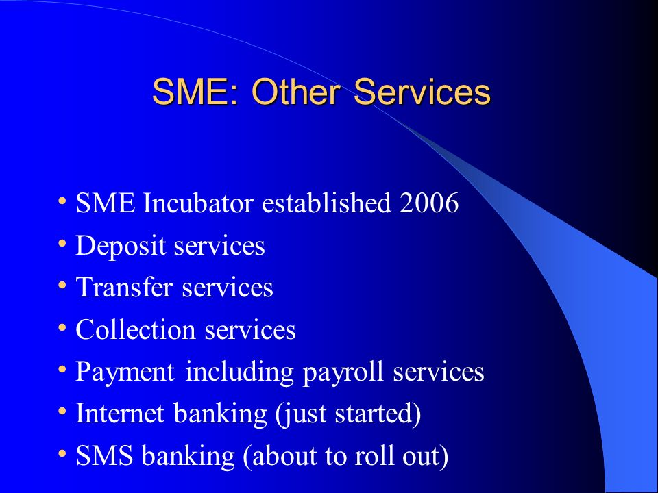 SME: Other Services SME: Other Services SME Incubator established 2006 Deposit services Transfer services Collection services Payment including payroll services Internet banking (just started) SMS banking (about to roll out)