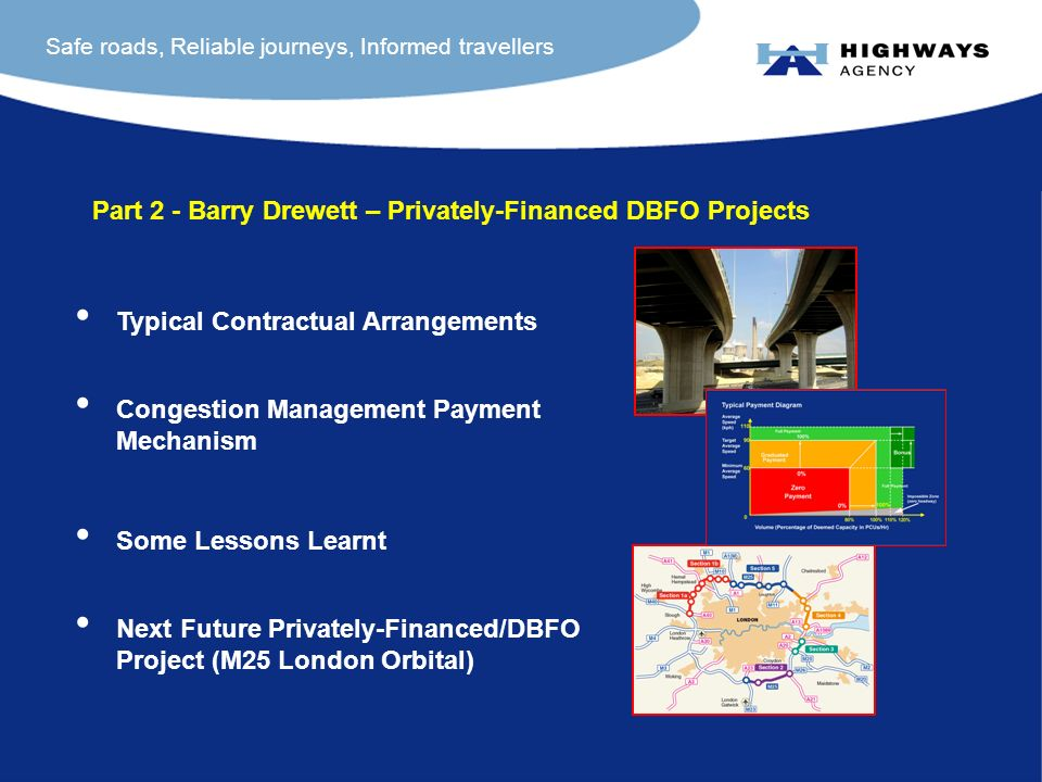 Safe roads, Reliable journeys, Informed travellers Part 2 - Barry Drewett – Privately-Financed DBFO Projects Typical Contractual Arrangements Congestion Management Payment Mechanism Some Lessons Learnt Next Future Privately-Financed/DBFO Project (M25 London Orbital)