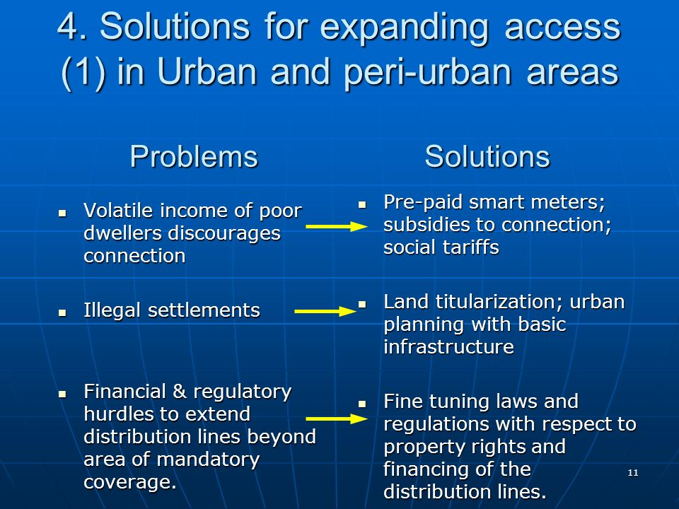 11 4. Solutions for expanding access (1) in Urban and peri-urban areas Problems Solutions Volatile income of poor dwellers discourages connection Vola
