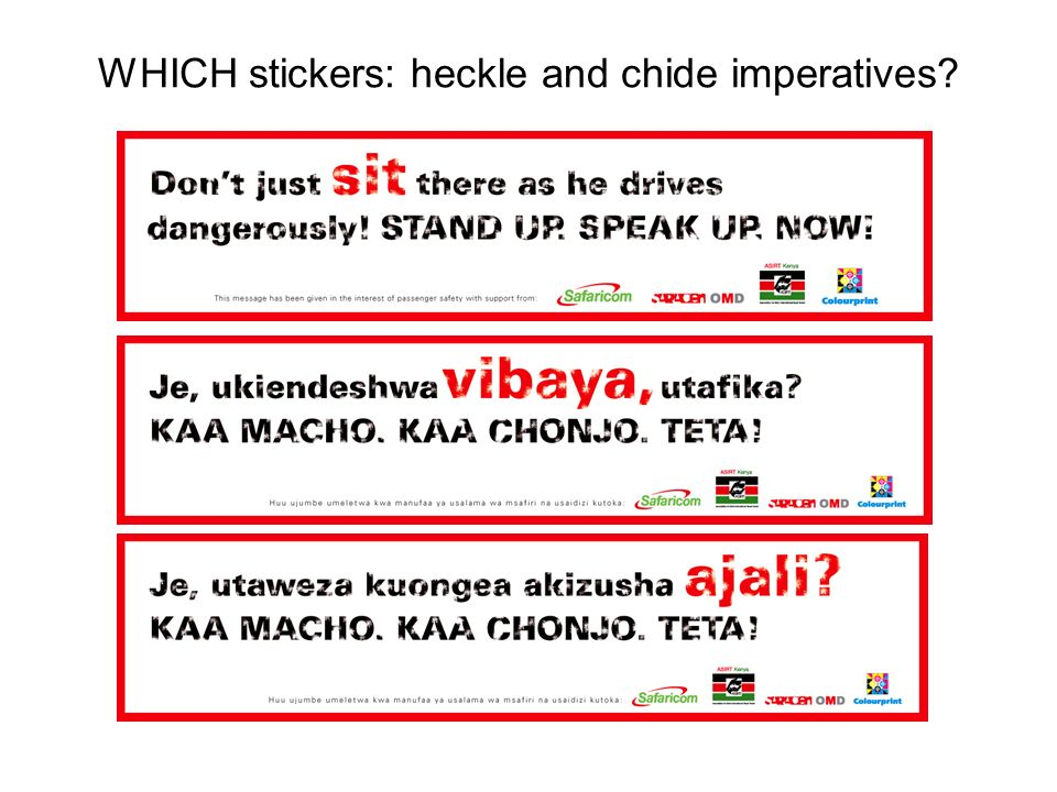 WHICH stickers: heckle and chide imperatives