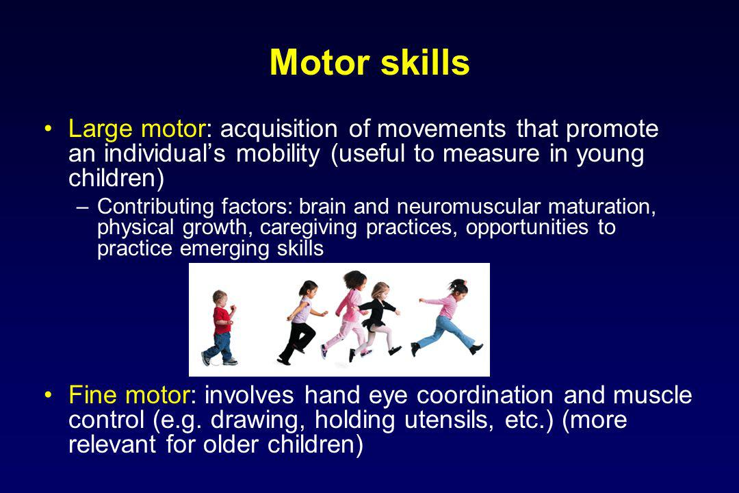 Motor skills Large motor: acquisition of movements that promote an individuals mobility (useful to measure in young children) –Contributing factors: brain and neuromuscular maturation, physical growth, caregiving practices, opportunities to practice emerging skills Fine motor: involves hand eye coordination and muscle control (e.g.