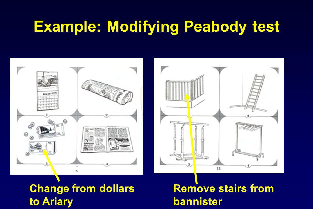 Change from dollars to Ariary Remove stairs from bannister Example: Modifying Peabody test