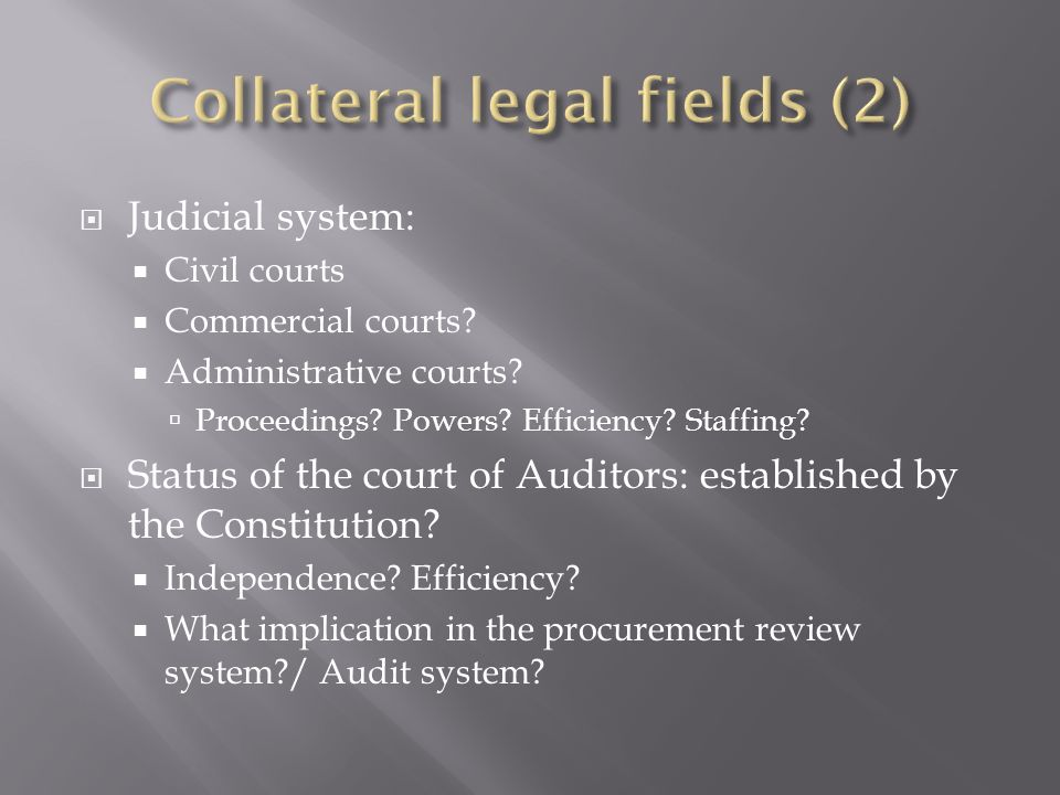 Judicial system: Civil courts Commercial courts? Administrative courts? Proceedings? Powers? Efficiency? Staffing? Status of the court of Auditors: es