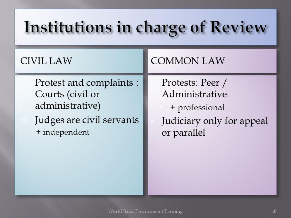 CIVIL LAW COMMON LAW Protest and complaints : Courts (civil or administrative) Judges are civil servants + independent Protest and complaints : Courts