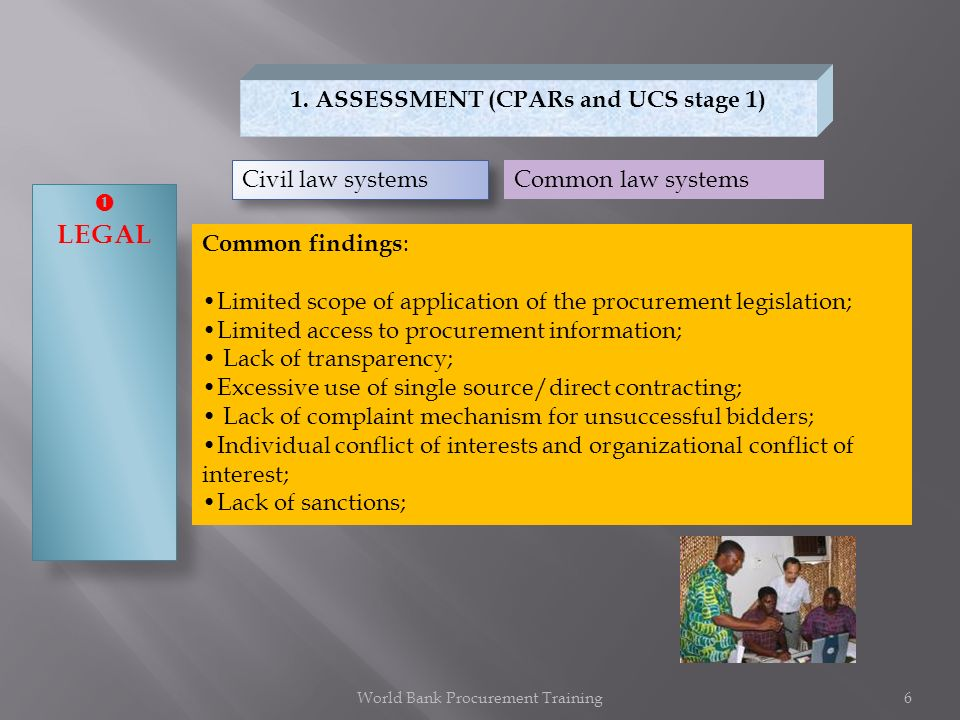 1. ASSESSMENT (CPARs and UCS stage 1) LEGAL Civil law systems Common law systems Common findings : Limited scope of application of the procurement leg