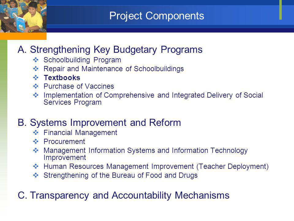 Project Components A.Strengthening Key Budgetary Programs Schoolbuilding Program Repair and Maintenance of Schoolbuildings Textbooks Purchase of Vacci