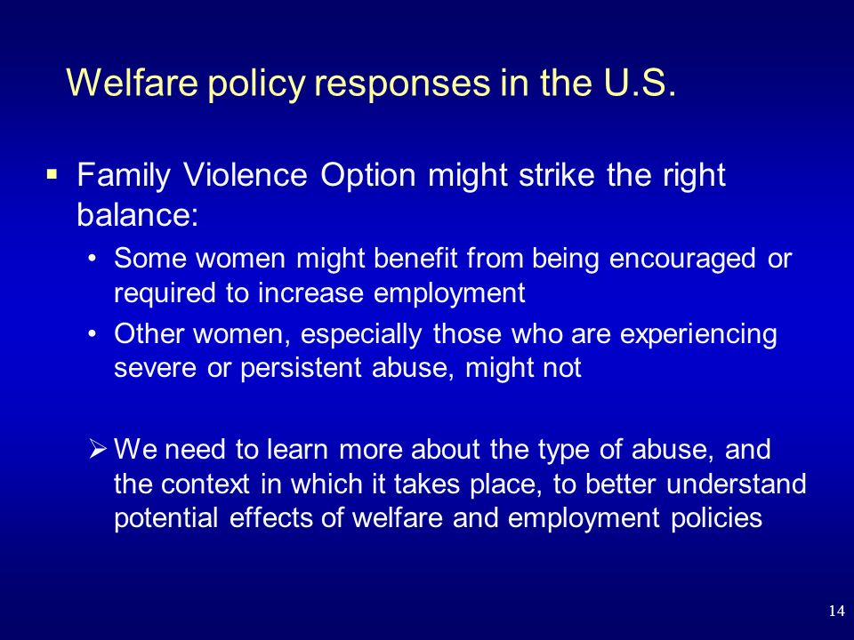 14 Welfare policy responses in the U.S.