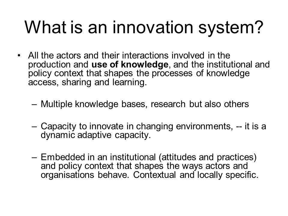 What is an innovation system.