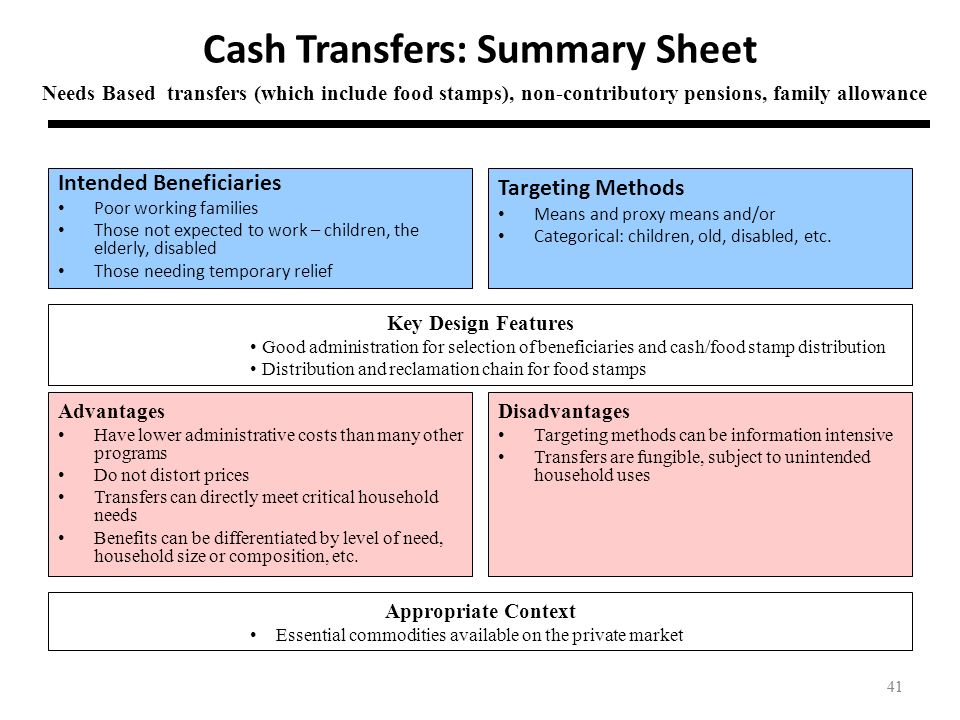 41 Cash Transfers: Summary Sheet Intended Beneficiaries Poor working families Those not expected to work – children, the elderly, disabled Those needi