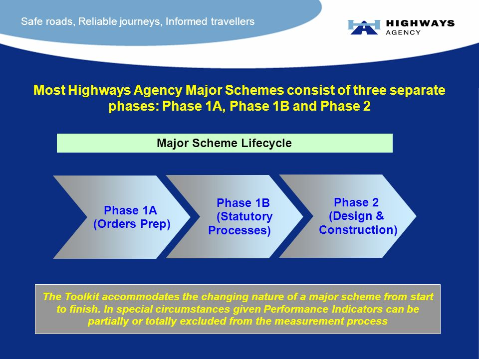 Safe roads, Reliable journeys, Informed travellers Most Highways Agency Major Schemes consist of three separate phases: Phase 1A, Phase 1B and Phase 2 The Toolkit accommodates the changing nature of a major scheme from start to finish.