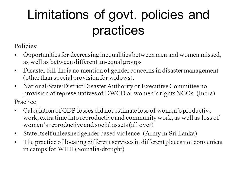 Limitations of govt.