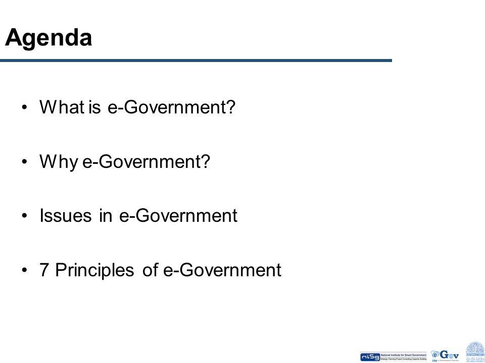 Agenda What is e-Government? Why e-Government? Issues in e-Government 7 Principles of e-Government