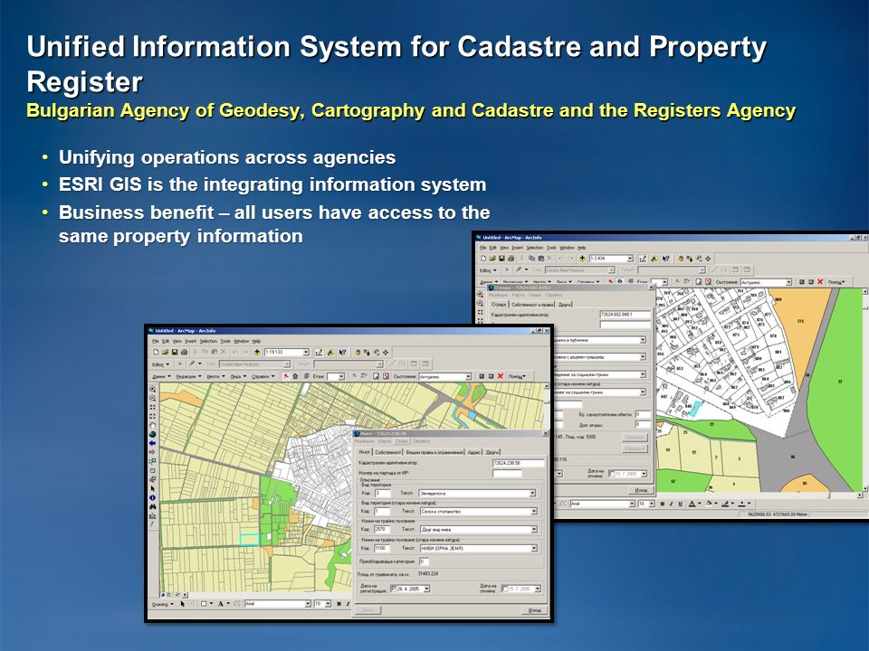 Unified Information System for Cadastre and Property Register Bulgarian Agency of Geodesy, Cartography and Cadastre and the Registers Agency Unifying
